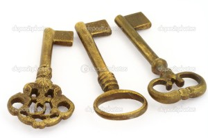 close-up of three ornamented old keys isolated on white background