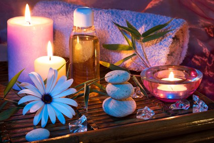 Spa candle stone ice oil bamboo