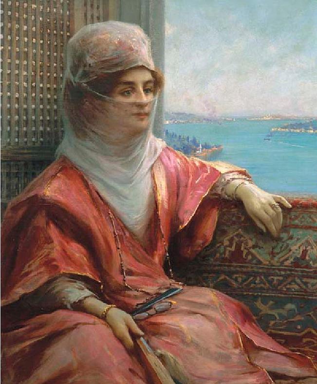 fausto-zonaro-boğaz-manzarasında-türk-kadın[1]